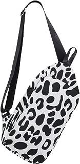 Mens Crossbody bag Leopard Black White Chest Backpack for Travel Hiking
