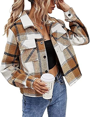 KILUS Chaqueta de tela escocesa para mujer, estilo casual, con botones, camisa de lana y color de bloque de chaqueta con bolsillos, albaricoque, XL