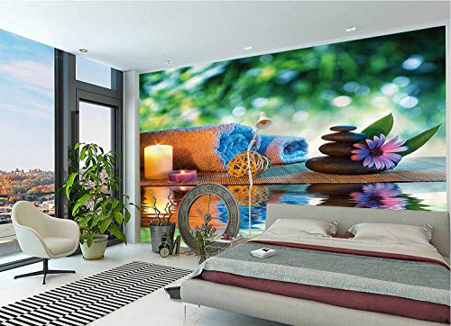 LCGGDB Spa Wallpaper Mural,Japanese Candles Meditation Self-Adhesive 3D Wallpaper for Office Nursery School Family Decor Playroom Birthday Gift -96x66 Inch