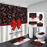 Yqs Alfombra de Baño La Navidad roja Nudo del Arco de la Cortina de Ducha Set de alfombras (Color : Color 1, Size : 4PCS Curtain Set)