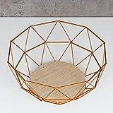 levandeo Korb Metall Kupfer 26x12cm Obstkorb Modern Holz MDF Braun Schüssel Schale Deko Design Tischdeko - 2