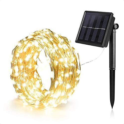 Solar Powered String Fairy Lights 1 Pack 33 ft 100 LED Waterproof IP65 Twinkle Lighting Indoor Outdoor Fairy Firefly Lights Auto ON/Off (Warm White)