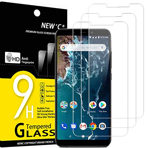 NEW'C 3 Unidades, Protector de Pantalla para Xiaomi Mi A2, Xiaomi Mi 6X, Antiarañazos, Antihuellas, Sin Burbujas, Dureza 9H, 0.33 mm Ultra Transparente, Vidrio Templado Ultra Resistente