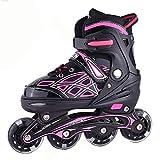 Lucky-Mキッズローラースケート 子供用 ジュニア Inline skate 男の子 女の子 フルフラッシュインラインスケート8ラウンド 調節可能な長さ(21.5-24.5cm) 7歳から11歳までのお子様に適しています (黑+粉)