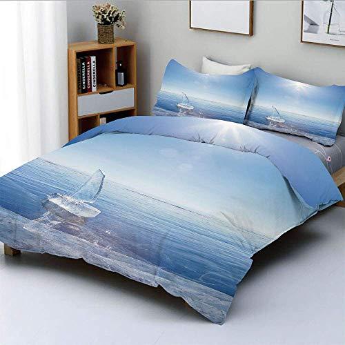 Qoqon Bettbezug-Set, ICY-Boot bei sonnigem Wetter Open Sky Cool Blue Getönter Fotodruck DekorativDekorativ 3-teiliges Bettwäscheset mit 2 Kissenbezügen, Kinder und Erwachsene