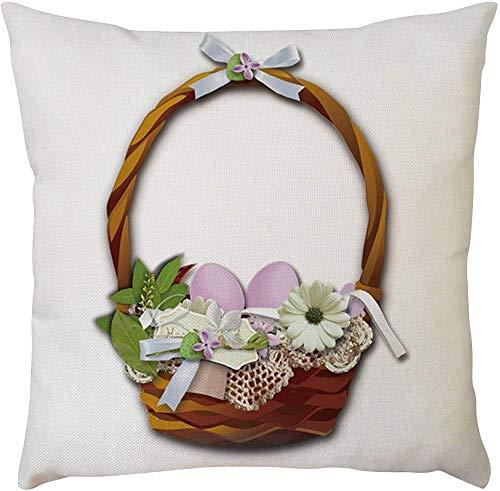 Generic - Funda de cojn (45 x 45 cm), diseo cuadrado de Pascua, color blanco