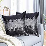 Juya Delight Black and Silver Sequin Throw Pillowcases Sparkle Pillow Cushion Covers for Couch Sofa Home Decor,18x18 inches, Set of 2