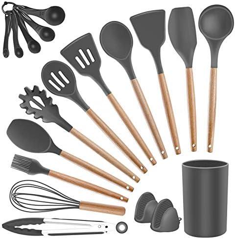 Kitchen Utensils Set Silicone Cooking Utensils SZBOB Heat Resistant Kitchen Tools Wooden Handle product image