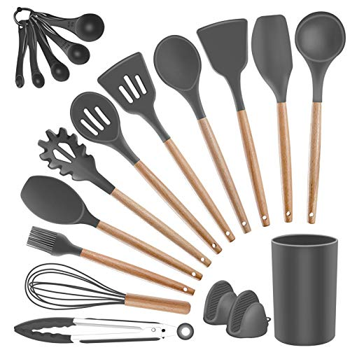 Silicone Kitchen Utensils Set with Holder - SZBOB Heat Resistant Cooking Utensils Set for Nonstick Cookware,Wooden Handle Soup Spoon Kitchen Utensil Set Spatulas Tongs Whisk Slotted Mixing Spoons