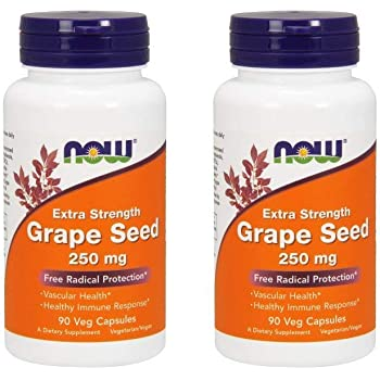 NOW Foods Grape Seed Extract 250mg, 90 Vcaps - (Pack of 2)