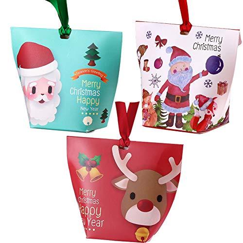 Feelava Scatole di Caramelle di Natale 12 Pezzi Scatole di Regali di Natale Scatole Regalo Scatole Regalo Bomboniere Fai-da-Te per Dolci di Natale Cupcake Borsa per Bomboniere per Bambini (B)