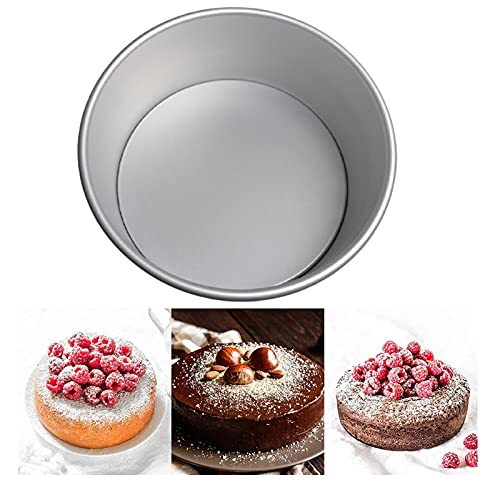 Non-Stick Deep Aluminum Round Cake Pan with Removable Bottom Cake Tin for Wedding Birthday Christmas Cake Baking,5 inch