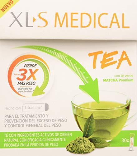 XLS Medical Tea Matcha Premium - Tratamiento para Perder Peso a base de Té Verde - Capta 28% de la Grasa Ingerida (1) - 30 Sticks