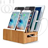 LENPOW Bamboo Charging Stations USB Wooden Charging Dock Stand Multi Devices Cords Cable Organizer for iPhone 11 Pro max XS XR X 8 7 Plus Galaxy S10 S9 Note Pad Tablets Laptops, 4-Slots, Eco-Friendly