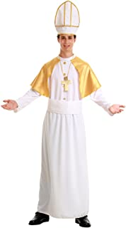 pious Pope Men's Halloween Costume Catholic Cardinal Bishop Pontiff Clergy Robe