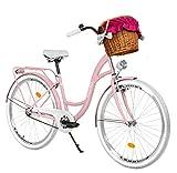 Milord Bikes Bicicleta de Confort Rosa de 1 Velocidad y 26 Pulgadas con Cesta y Soporte Trasero, Bicicleta Holandesa, Bicicleta para Mujer, Bicicleta Urbana, Retro, Vintage