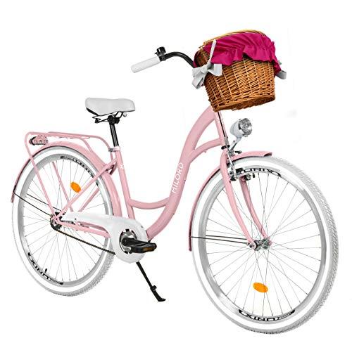 Milord Bikes Bicicletta Comfort Rosa a 3 velocità da 26 Pollici con cestello e Marsupio Posteriore, Bici Olandese, Bici da Donna, City Bike, retrò, Vintage
