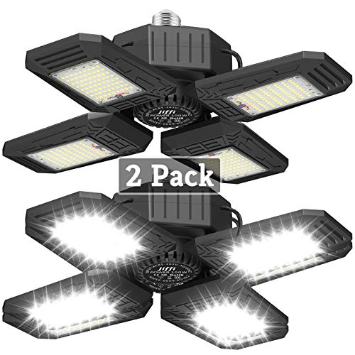 2 Pack LED Garage Lights, 100W Beyond Bright Ceiling Lights with 4 Adjustable Panels, 10000LM E26/E27 Workshop Lighting, Daylight Perfect for Barn Basement Warehouse Residential, High Bay Light