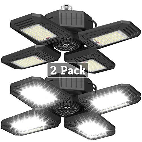 2 Pack LED Garage Lights, 100W Super Bright Ceiling Lights with 4 Adjustable Panels, 10000LM E26/E27 Workshop Lighting, Daylight Perfect for Barn Basement Warehouse Residential, High Bay Light