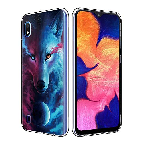 Yoedge Case for Samsung Galaxy A10e, Clear Silicone Back Cover with Pattern Design for Women Girls Men, Ultra Slim Fit Thin Shockproof Gel TPU Cover Bumper Skin for Samsung Galaxy A10e (Wolf 2)