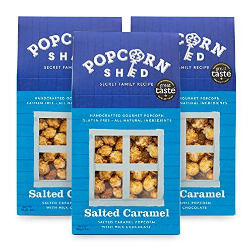 3 x 80g Popcorn al caramello salato di Popcorn Shed   Confezione regalo popcorn al caramello salato