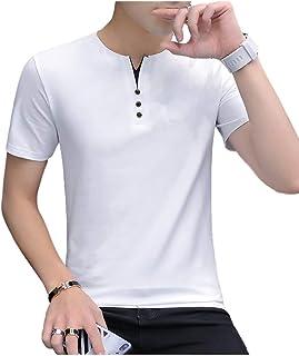 [サン ブローゼ] tシャツ 半袖 フェイクボタン ヘンリーネック カジュアル トップス シャツ 夏 M ~ XL メンズ