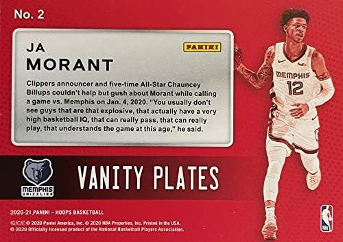 2020-21 Panini NBA Hoops Basketball JA MORANT Vanity Plates Insert Card - Memphis Grizzlies