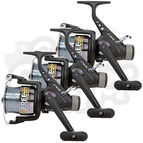 Lineaeffe 3 x Free Carp 60 3BB Carp/Coarse Runner Fishing Reels Pre-Spooled with 15lb Line