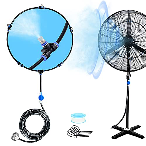 WEIERYUE Outdoor Fan Misting Kit, Mist Cooling System, Cool Patios Misting Line and General Brass Adapter Connects to Any Fan Convert Misting for Cooling Outdoor, (Black, 19.7FT (6m))