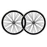 ZCXBHD 700C Bicicletta A Scatto Fisso Set Di Ruote 40mm Bici Fixie Anteriore E Posteriore Ruote Lega Di Alluminio Freno A V Retromarcia Freno Inverso (Color : Black)