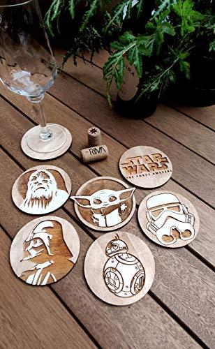 6er Set Krieg der Sterne Untersetzer - Holz - Star Wars - Krieg der Sterne