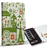 スマコレ ploom TECH プルームテック 専用 レザーケース 手帳型 タバコ ケース カバー 合皮 ケース カバー 収納 プルームケース デザイン 革 クリスマス サンタ 緑 009739