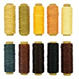 BIGTEDDY - 10 Colors 150D 1mm Hand Stitching Waxed Leather Thread Dreamcatcher DIY Supplies for Leathercraft...