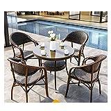 WANGQW Conjunto de bistró de ratán con sillas de Mesa de Patio Furniture Silla Silla Sets Patio Conservatory Indoor Outdoor Coffee Table Patio Conversación al Aire Libre