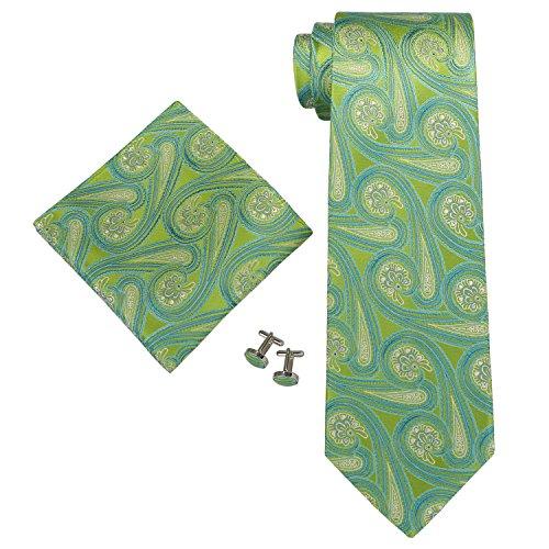 Landisun 71G légumes paisleys Homme Soie Ensemble:Cravate Boutons De Manchettes Mouchoir