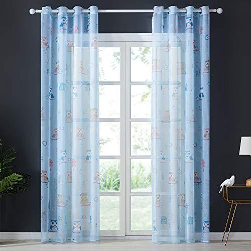 Topfinel Voile Vorhänge mit Ösen Lichtdurchlässige Gardinen Lang mit Eulenmustern für Kinderzimmer Wohnzimmer Fenster 2er Set je 215x140cm (HxB) Blau