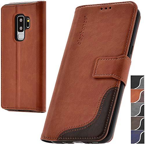 elephones® Handyhülle für Samsung Galaxy S9 Plus Hülle - Kompatibel mit Galaxy S9+ Schutzhülle Handy-Tasche Flip Case Cover Braun