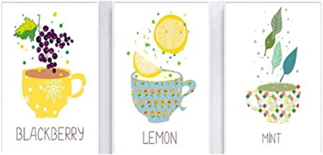 Jwqing Canvas Prints Pictures Wall Art -Simple Style Lemon Mint BlackBerry with Cups Home Decor 40x60cmx3pcs No Frame