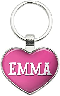 Metal Keychain Key Chain Ring Pink I Love Heart Name E-I - Emma