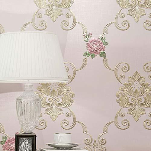 M-CH Papel Pintado Papel Tapiz No Tejido Pastoral Estilo del Papel Pintado 3D Proceso de Alivio Tela Caliente Dormitorio del Fondo de la Sala de TV de Pared Pared (Color : Pink)