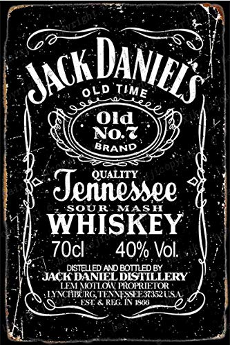 Cimily Jack Daniels Whiskey Vintage Blechschilder Zinn Poster Retro Metallschild Plaque Art Wanddekoration 8 × 12 Zoll