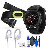 Garmin Fenix 5S Plus Sapphire Edition Multi-Sport Training GPS Watch (010-01987-02) HRM-Pro Heart Rate Monitor + Powerbeats Wireless Headphones (White) + USB Power Cube + Cleaning Set