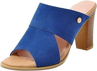 MisaKinsa Women Solid Block Heels Mules Sandals Backless Shoes