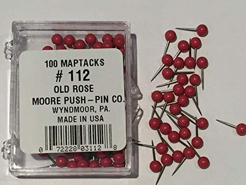 """1/8"""" Map Tack Push Pins - Old Rose (box of 100 pins)"""