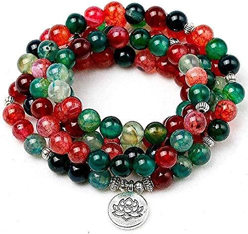 Collar de Moda Natural Turmalina Onyx Budismo Multicapa Pulseras de Buda Lotus Charm Bracelet Joyería de Yoga para Mujeres GiftCollar Colgante Niñas Niños Regalo
