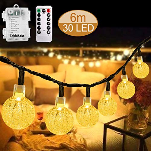 Vivibel Led-lichtsnoer, werkt op batterijen, kristallen bollen, 30 LED-lampen, 6 meter, waterdicht, verlichting met afstandsbediening, voor feest, verjaardag, bruiloft, tuin, feestdecoratie (warmwit)