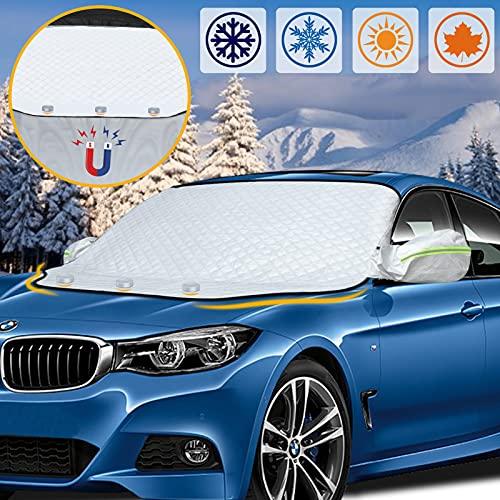 Frontscheibenabdeckung Auto Windschutzscheibenabdeckung mit 3 magneten, autoabdeckung Winter, Frostschutz Auto Frontscheibe, Eisschutz, Schneeschutz, Sonnenschutz, Geeignet für die meisten Autos SUVs