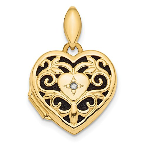 14k Yellow Gold Filigree Diamond Heart Photo Pendant Charm Locket Chain Necklace That Holds Pictures Fancy Fine Jewelry For Women Gifts For Her