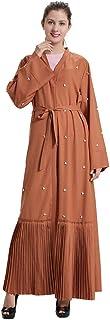 فستان طويل أنيق للسيدات من Dubai Pearl مفتوح من قماش الكتان مع حزام خصر