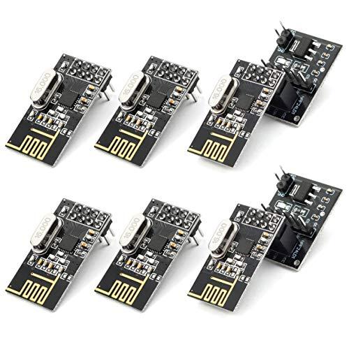 Tianqin 6pcs NRF24L01+ Módulo de transceptor inalámbrico RF de 2.4GHz con 2pcs NRF24L01...